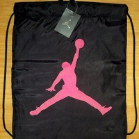 AIR JORDAN NIKE DRAWSTRING GYM SACK BAG TOTE WORKOUT EXERCISE BLACK/PINK NEW