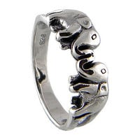 Elephant Ring 925 Sterling Silver Black Oxidized by jewelkingthai