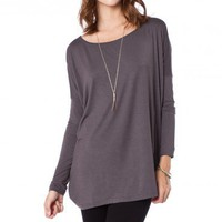 Cozy Long Sleeve Top in Slate - ShopSosie.com