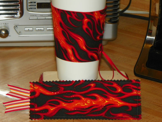 Firey Flame Celestial  Coffee Corset Cozy w/ by NorthwoodsWhimsy