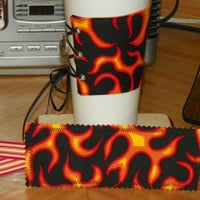Flames Coffee Corset Cozy w/ Adjustable Lacing by NorthwoodsWhimsy
