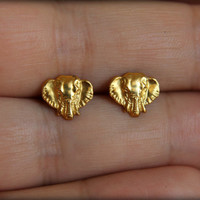 Elephant Head Earring Studs in Raw Brass, Stainless Steel Posts