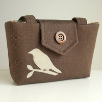 Wayfarer Purse with Handmade Bird Applique by peskycatdesigns