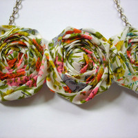 Rosette Necklace in Vintage Fabric Flowers by bellerosedesigns