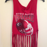 Georgia Bulldogs fringe crop tank top