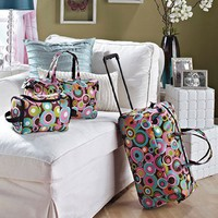 3 Piece Luggage Set - Circles (Rolling Duffel Bag, Tote