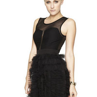 PANELED-BODICE RUFFLED DRESS