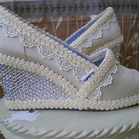 Custom Wedding TOMS  Swarovski  Wedge design by TheCrystalSlipper