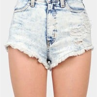 Destroyed Jean Shorts - Blue