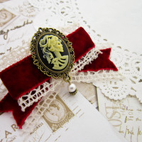 Skull Cameo Barrette - Red Velvet Ribbon Victorian Lady Gothic Hair Barrette