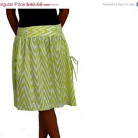 ON SALE Chevron Midi Skirt in Green and White with Two Pockets / Spring Fashion Skirt / Ready to ship