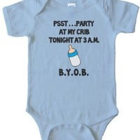 PSST... PARTY AT MY CRIB TONIGHT - 3AM - BYOB - BABY ONESIELight Blue (24 MONTH)