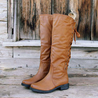 Winthrop Lace Back Boots in Cognac, Rugged Boots & Shoes