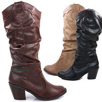 Lode western cowboy cowgirl slouch boots knee high stacked heel Soda Shoes girl
