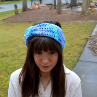 Blue and Purple Crocheted Knot Headband