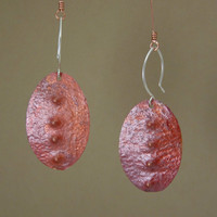 Rustic copper earrings - unusual earrings - artisan earrings