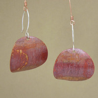 copper petal earrings - rustic earrings