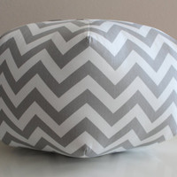 "18"" Ottoman Pouf Floor Pillow Grey White Zig Zag Chevron"
