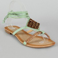 SK0256JB Jeweled Open Toe Flat Sandal