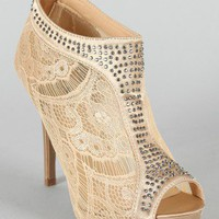 Wild Rose Kakoa-336 Jeweled Mesh Peep Toe Platform Bootie