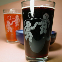4 SciFi Pint Glasses Astronaut Love by BreadandBadger on Etsy