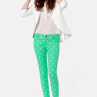 Penny for Your Dots Green Polka Dot Jeggings