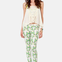 Dittos Jessica Ivory Love Bird Print Jeggings