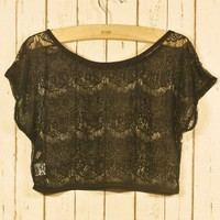 Lace Eyelashed Smock in Noir - Tops - Retro, Indie and Unique Fashion
