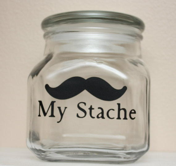 My Stache  Mustache Money Jar by TheBeautifulHome on Etsy