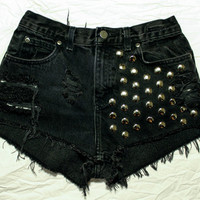 black / vintage denim / dome studs & destroyed / by todyefordenim