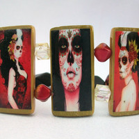 Day of the Dead Girls Bamboo Tile Red Black by thebagladyboutique1
