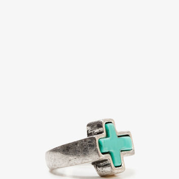Burnished Cross Ring