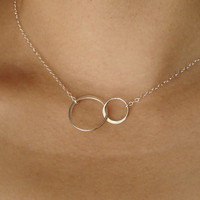 Forever Linked Together Circles Pendant Necklace in Sterling Silver, wedding, bridesmaid gift, entwined, interlocking circles