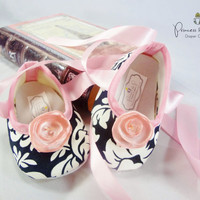 Ooh La La Pink & Black Damask Baby Shoes - Dress Shoes, Wedding, Flower Girl,  Easter, Crib Shoes, Bling, Photo Prop