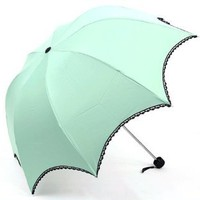 Amazon.com: Pale Green Arched Umbrella With Black Lace Trim, Anti-UV Sun Parasol: Clothing