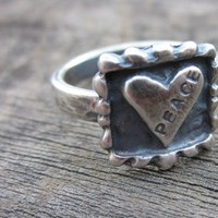 Love Peace Hand Stamped Ring by donnaodesigns by donnaOdesigns