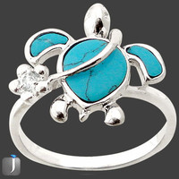 Sz 8 3.25cts BLUE TURQUOISE FANCY TOPAZ TORTOISE 925 STERLING SILVER RING F7266