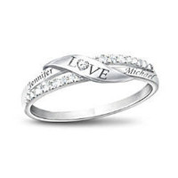 Personalized 7-Diamond Love Ring - FindGift.com