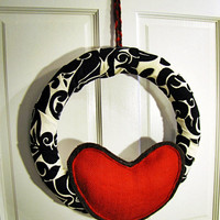 Valentine's day wreath Damask fabric with red by UnusuallyYours