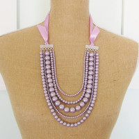 Lavender Purple Pearl Multi Strand Statement Necklace Purple Satin Ribbon Adjustable - Wedding, Bridal, Bridesmaid Chunky