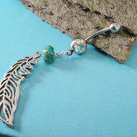 Feather Belly Button Ring with Green Jasper, Silver Feather Barbell Navel Piercing