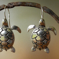 Sea Turtle Earrings sterling silver by BobsWhiskers on Etsy