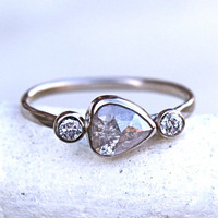 Diamond Engagement Ring  Rose Cut Diamond by SamanthaMcIntosh