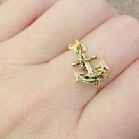 Gold Anchor Ring - Made in Your Size 1 2 3 4 5 6 7 8 9 10 11 12 Ring
