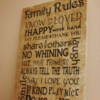 Word Art Family Rules Decorative Tile  Word by TheBeautifulHome