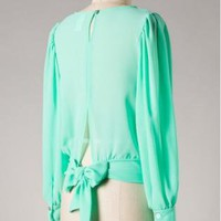 Mint Green Long Sleeve Sheer Blouse with Tie Back Detail