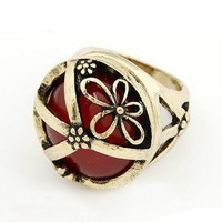 Vintage Peace Sign&amp;Filigree Flower&amp;Large Gem Dome Ring at gofavor