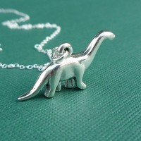 sterling brontosaurus dinosaur necklace gift by cravejewelrydesign