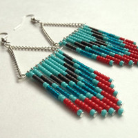 Red Teal and Turquoise Beaded Earrings