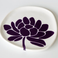 ceramic plate - lotus flower in deep purple - dessert plate